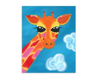 Colorful Giraffe Art Print ~ Head in the Clouds