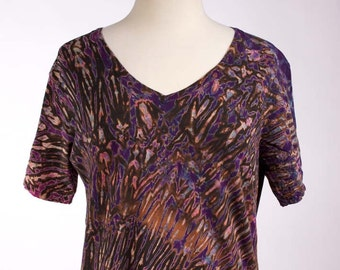 XL Hand Dyed Women's Shibori V-Neck T Shirt Tie Dye Shirt Deep Deep Purple Black