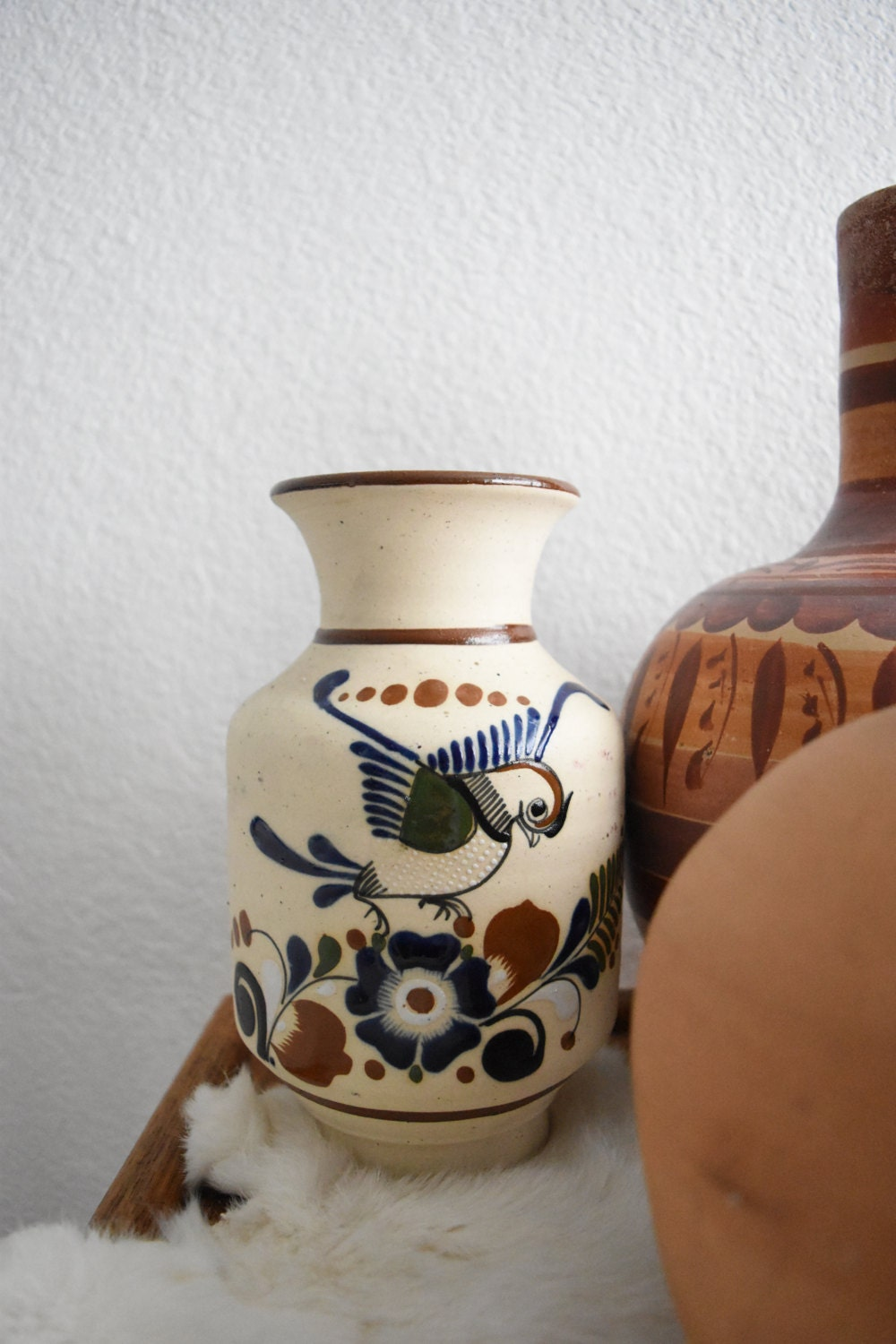 Vintage Hand Painted Mexican Pottery Vessel Vase