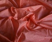 Silk Taffeta in  peach colour, firecracker flower colour-  fat quarter -TF 100