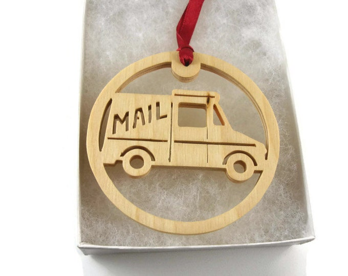 Mail Delivery Truck Christmas Ornament Handmade From Birch Wood by Kevskrafts