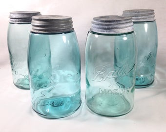 Four Ball Mason Blue Slope Shoulder Canning Jars Zinc Lids Antique Wedding Decor Vases
