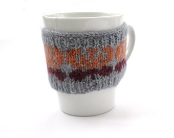 Butterfly Mug Cosy , cup cosy , handknit mug hug , fair isle knit , mug warmer , Christmas gift for her,  wool kitchen cosy - small size