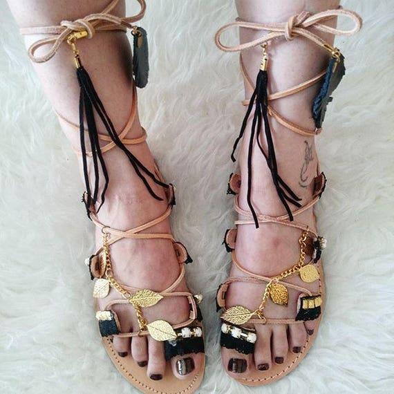 Boho Sandals/Leather Gladiator Sandals/Black & Gold  Kirki/ Womens gladiator