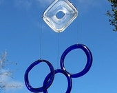 wind chime mobile from recycled colbalt blue and clear glass bottles