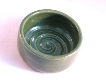 Shave Bowl - Shave Mug - Ridges for Good Lather - Lather Bowl - Comfort Shave - Handmade Pottery - Pottersong - Bright Green - Gift for Him