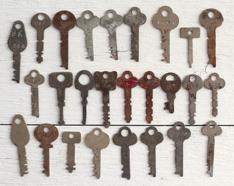 25 Vintage Keys - Rusty Silver Flat Key Collection