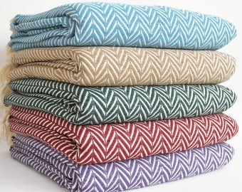 NEW / SALE 30 OFF/ Herringbone Blanket / Double Size / Bedcover, Beach blanket, Sofa throw, Traditional, Tablecloth, Twin blankets