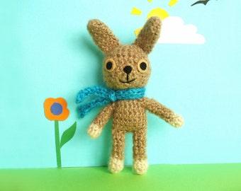 Cute crochet rabbit, amigurumi bunny in brown mohair mix yarn, gift for Easter