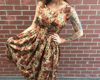 Darling Perfect 1950's Brown Tan Floral Party Dress Rockabilly Pinup