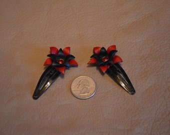 Red & Black Leather Hair Clips (2)