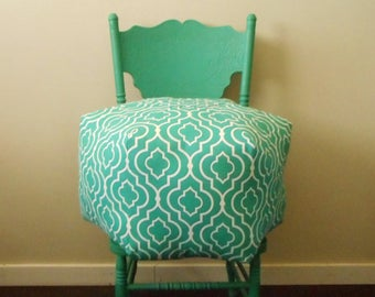 Teal Pouf, Ottoman, Lattice Pattern, Teal and white, Indoor Outdoor Fabric, Foot Pouf, Floor Cushion, Large Pillow, Stool, Moroccan Style