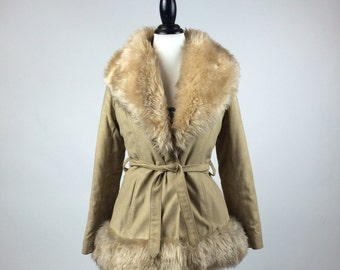 Almost Famous Tan Leather Huge Shearling Lamb Collar and Cuffs Coat // M - L