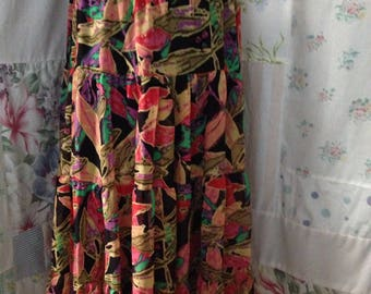 LARGE, Skirt, Bohemian Hippie Indie Boho Flowerchild Tiered Colorful Skirt