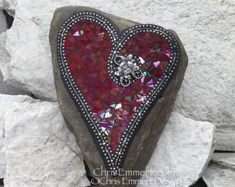 Iridescent Red Heart Mosaic Rock, Gardener Gift, Home Decor, Mosaic Garden Stone