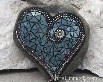Denim Blue Heart -Mosaic / Garden Stone