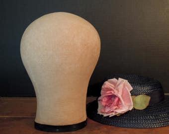 Vintage Head Form / Millinery Head Form / Vintage Hat / Wig Form / Millinery Hat Mold / Linen