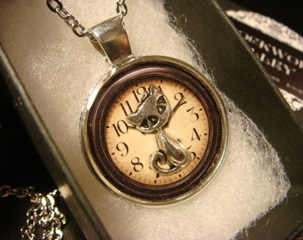 Silver Cat Over Clock Pendant Necklace (2230)