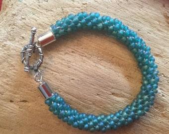 Teal Colored Beaded Kumihimo Bracelet