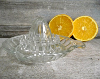 French Glass Reamer | Vintage Citrus Juicer by Reims France | Clear Glass Hand Press Juice Squeeze | Retro Kitchen Utensil