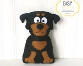 Rottweiler Sewing Pattern, Felt Rottweiler Plush Stuffed Animal Pattern, Rottie Plushie Pattern, Dog Hand Sewing Pattern, Rottie Stuffie