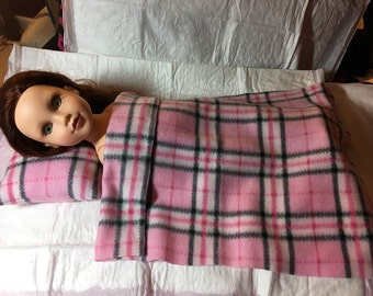 Fleece pillow & blanket set in pink plaid for 18 inch dolls - agfb21