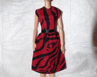 Red & black Zebra print dress for Fashion Dolls  - 969
