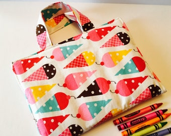 Travel Art Case - Crayon Travel Organizer - Kids Crayon Case - Ice Cream Cones Art Travel Case