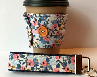 Floral Fabric Coffee Cozy and Wristlet Key Fob, Light Blue Floral Set or Sold Individually