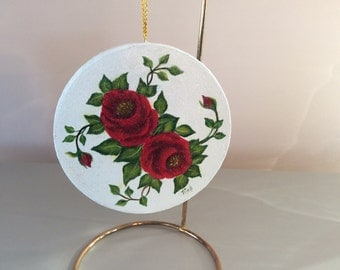 RED Roses and holly and berries Christmas Ornament - hand painted - one of a kind