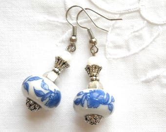 delft blue style earrings blue earrings delft blue dangle earrings delft blue jewelry blue floral earrings