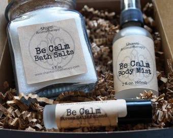Mother's Day Gifts For Women - Be Calm Bath Salt, Mist, and Roll On Gift Set - Lavender -Relaxation Gifts - Gifts for Mom - Gifts for Women