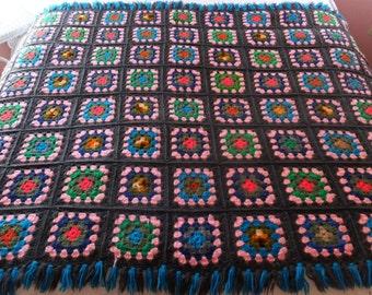 Vintage Hand Crochet Gray Granny Square Fringed Afghan Picnic Blanket