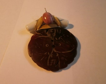 Vintage Jade Pendant, Carved Brown Jade With Ceramic with Pink Stone, Pendant, Hand-made