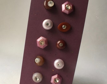 10 Vintage Purple and Mauve Rhinestone Buttons for Sewing and Crafts
