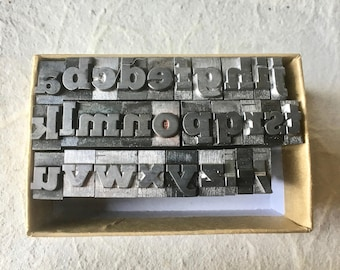 Vintage Letterpress Lower Case Alphabet for Printing Stamping and Decor