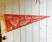 Vintage San Francisco California US Army Souvenir Pennant - Military Collectable - Mid-Century 1940s or 1950s   - Hard-to-Find Souvenir