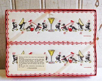 Vintage Penguin Wrap-a-Rounds - Unopened Original Package - Paper Wraparound Glass Wraps - 1960s - Made in England