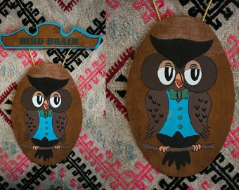 Vintage 1970's Hand Painted Owl Bird Brain Wall Plaque in Wood Sign Painting Kitsch Funny Holiday Gift Retro