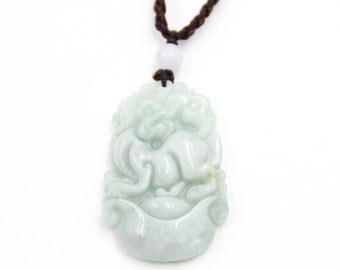 Natural Jadeite Gem Chinese Zodiac Dog Amulet Pendant 37mm*23mm  cy197
