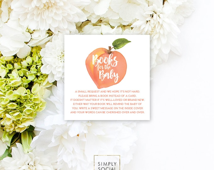 INSTANT DOWNLOAD Sweet as Peach Baby Shower Bring a Book Instead of a Card insert Sweet Peach Watercolor Calligraphy PRINTABLE