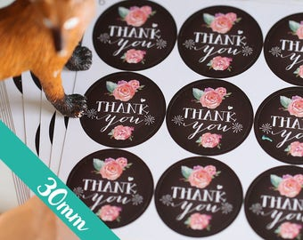30mm Chalkboard Thank You stickers, Water Resistant Matte Lamination, Watercolor Peony Round Cut Sticker for Etsy Sellers, Wedding, Party