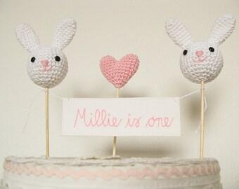 Bunny Birthday Cake Topper, First 1st Birthday, Bunny Party Decor