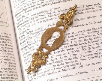 Brass FLEUR Furniture Keyhole Escutcheon - Antique Victorian Hardware
