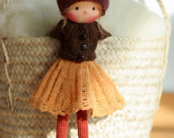 "Waldorf doll, Soft doll, Knitted doll Camelia 14"", rag doll, handmade doll by Peperuda dolls"