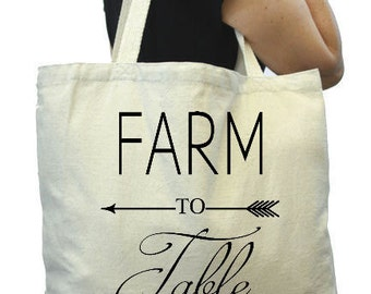 Canvas Grocery Bag,Farm to Table , Thick Tote Bag, Reuable Grocery Tote Bag