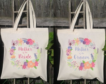 Mother of the Bride & Mother of the Groom Set- Wedding Tote Bags, Floral Wedding Bags,Spring Floral Wreath