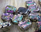 Sew On Rhinestones Crystal AB DIY Emerald Princess Cut Rectangle 8mm x 10mm 4 hole Montee Acrylic Pronged Flat Back Beads