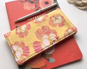 Checkbook Cover. Wallet. Receipt Holder. Blooms in Cream