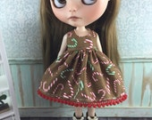 Blythe Dress - Christmas Red and Green Candy Canes